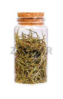Dried Field Horsetail in a bottle with cork stopper for medical