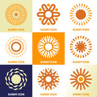 Abstrac sun logo icon set in linear style.