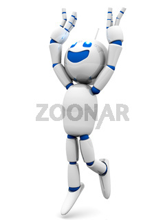 Happy jumping cartoon Robot