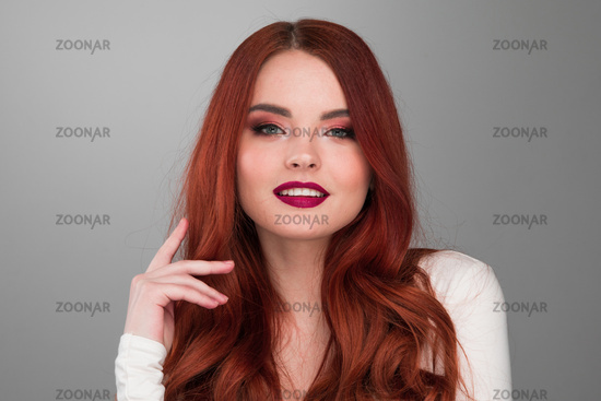 Woman with long ginger hair