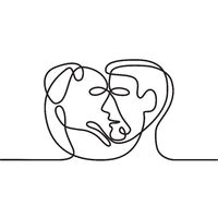 Man and Dog Face Side Continuous Line