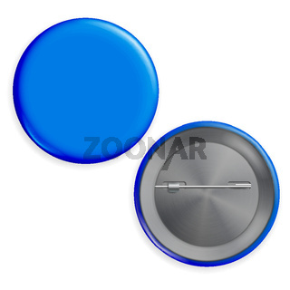 Blank Blue Badge Vector. Circle Button Badge Set Front, Back Side.