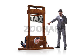 Businessman in heavy high taxes business concept