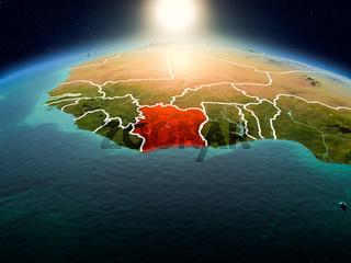 Ivory Coast in sunrise from orbit