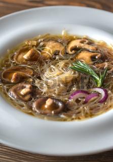 Portion of shiitake ginger soup