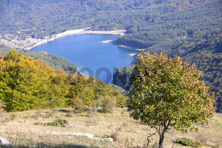 View of the montagna Spaccata lake in Abruzzo National Park