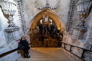 Interior of Sedlec Ossuary, a small Roman Catholic chapel