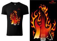 Black T-shirt with Motif of Burning Guitar