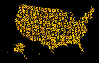 Golden Mosaic Map of USA Territories of Dollar Signs