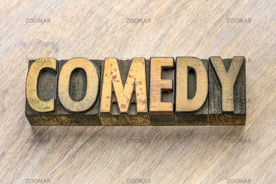 comedy word in wood type