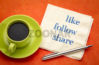 like, follow, share - social media concept
