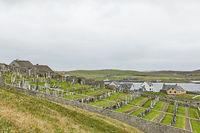 Graveyard on a hill facing North sea in Lerwick at Shetland Islands, Scotland, UK.