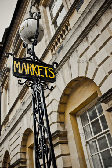 Markets Sign In A British Town