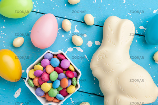 Delicious and traditional white chocolate Easter holiday bunny