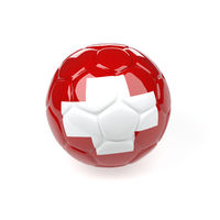 Soccer ball with the flag of Switzerland