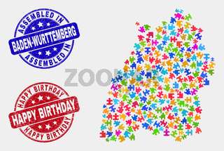 Component Baden-Wurttemberg Land Map and Scratched Assembled and Happy Birthday Stamp Seals