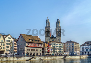 Embankment of Limmat river, Zurich, Switzerland
