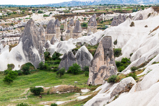 fairy chimney rocks and rock-cut houses in Goreme