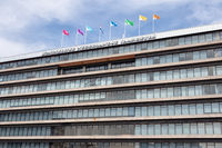 Facade with flags Dutch conference centre Jaarbeurs in Utrecht