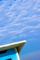 Abstract view of a blue shelter on the beach close to the Adriatic sea