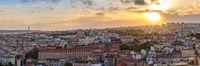Lisbon Portugal aerial view sunset panorama city skyline at Lisbon Baixa district