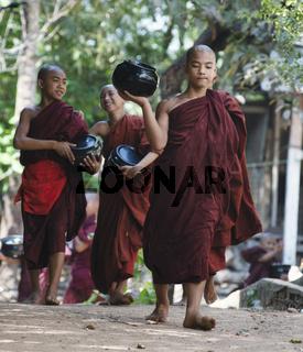 February 23, 2014 - Yangon, Myanmar: Monks Going for Lunch at Kalaywa Tawya Monastery in Yangon