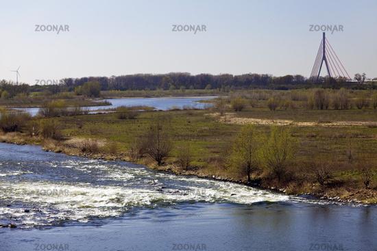 Lippe river mouth and Rhine bridge, Wesel, Ruhr Area, North Rhine-Westphalia, Germany, Europe