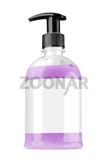 Transparent plastic bottle with purple liquid hand soap, blank label and black dispenser lid, isolated on white background