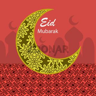 Happy Eid Mubarak Islamic Design. Engraving Muslim Moon.