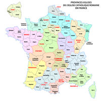 Map of the Roman Catholic Church Provinces in France