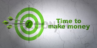 Timeline concept: target and Time to Make money on wall background