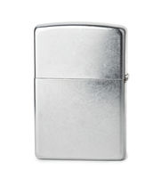 Side view of closed stainless steel cigarette lighter