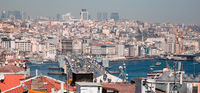 Istanbul, Turkey, 25 March 2019: Galata Bridge and old centre of Istanbul. Galata Bridge over the Golden Horn is a famous landmark of Istanbul. Panoramic view of Istanbul city from above at sunset