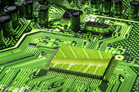 Green Mother board fluorescent with CPU with leaf texture