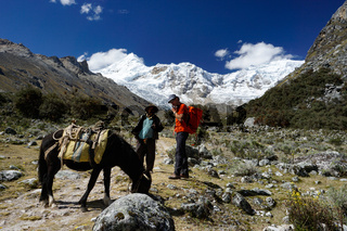 mountain climber discusses wages and rates with a local muleskinner or arriero for transporting climbing equipment to base camp
