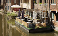 Ghent, Belgium - June 13, 2017: The  floating outside terrace of 'Maison  Elza'.