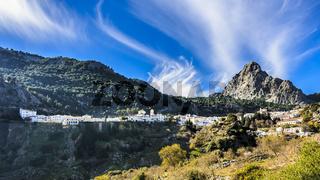 Landscape of Grazalema village in the foothills of the Sierra del Pinar mountain range