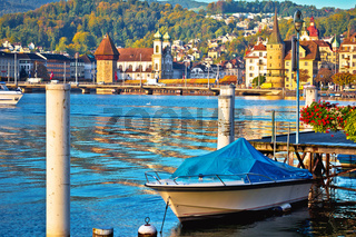 City of Lucerne colorful lake waterfront and landmarks view