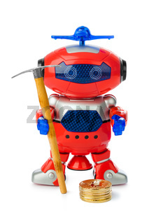 Toy robot with pickaxe and bitcoins stack