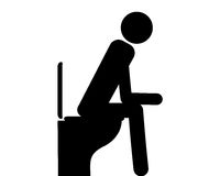 Person auf Toilette - Person sitting on toilet on white