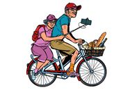 old man and old lady travelers on bike, selfie on smartphone