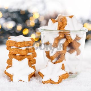 Weihnachten Plätzchen Weihnachtsplätzchen Quadrat Gebäck Sterne Zimtsterne Winter Schnee