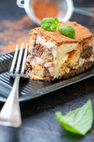 Piece of homemade Italian tiramisu dessert.