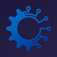 Industry 4.0 metaphor. Digital gear transforming industry icon.