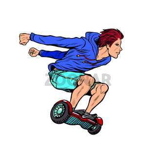 extreme teenager on hoverboard