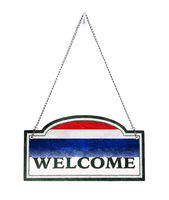 Thailand welcomes you! Old metal sign isolated