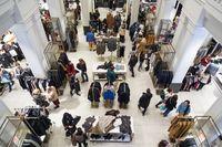 Interior of Zara store on Gran Via shopping street in Madrid, Spain..