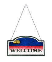 Liechtenstein welcomes you! Old metal sign isolated