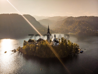 Aerial view of island of lake Bled, Slovenia.
