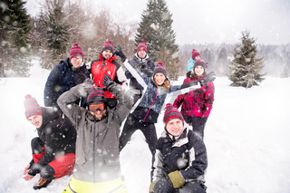 portrait of group young people in beautiful winter landscape